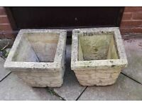 2 STONE GARDEN PLANTERS FOR SALE