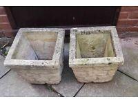 2 STONE GARDEN PLANTERS FOR SALE