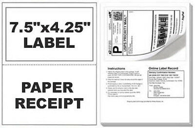 1000 Self Adhesive Mailing Shipping Labels W Tear Off Paper Receipt Paypal