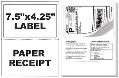 500 Self Adhesive Mailing Shipping Labels W Tear Off Paper Receipt Paypal