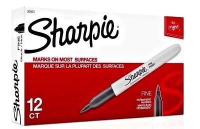Sharpie Fine Point Black Permanent Markers 12 Count Box Mpn 30001