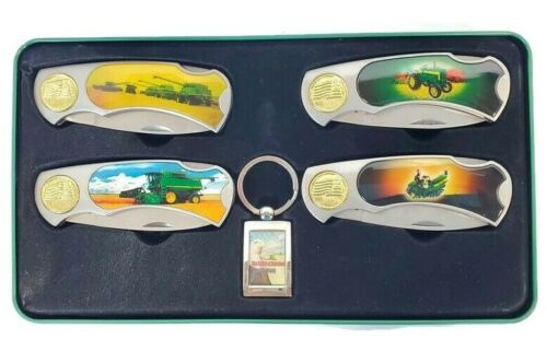 Set of 4 John Deere Advertising Pocket Knives and Keyring in Collectors Tin