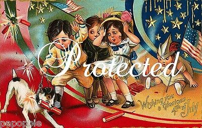 Vintage 4th of July Fabric Block Firecracker Postcard Image on Fabric Kids Dog