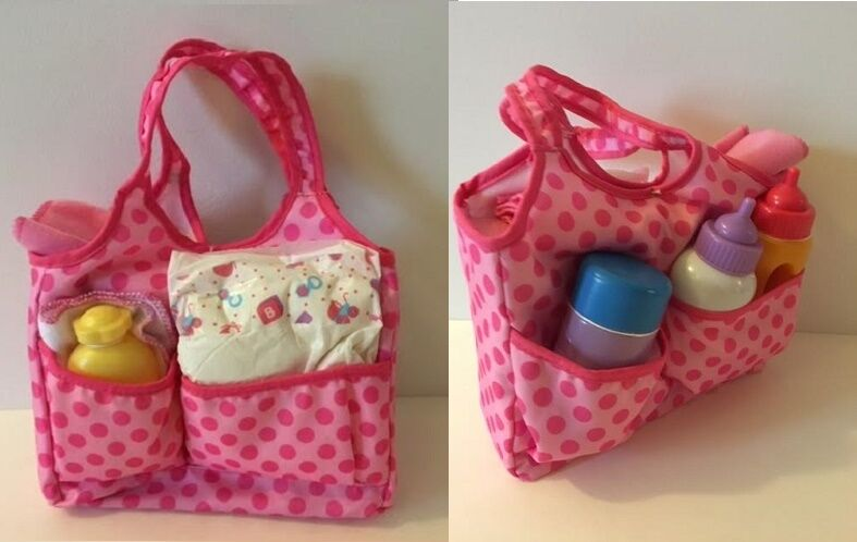 Lovvbugg 8 pc Doll Diaper Bag fits Bitty Baby Huggems and up-to-18 inch