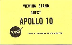 NASA APOLLO 10 LAUNCH VIEWING STAND GUEST BADGE 1969
