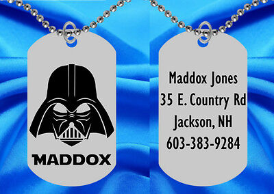 DARTH VADER Dog Tag Necklace for Kids, Personalized FREE with NAME! Star Wars](Star Wars Names For Dogs)