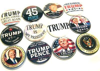 "12 DONALD TRUMP 45th President Mixed Set 1"" Pinbacks Buttons Pins PENCE USA"