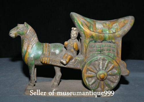 """8.4"""" Old Chinese Tang Sancai Porcelain Dynasty Horse Pull carriage Sculpture"""