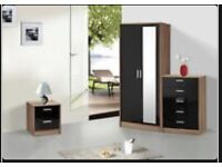 High Gloss Bedroom Furniture. Includes Wardrobe, Chest of Drawers , Bedside Cabinet
