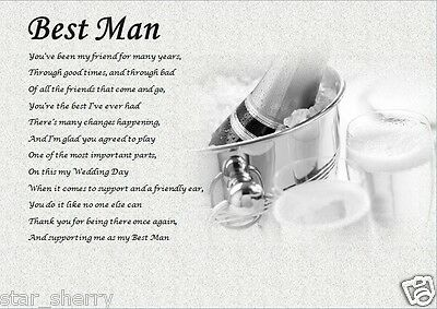 BEST MAN GIFT ( A4 laminated Poem) - written by