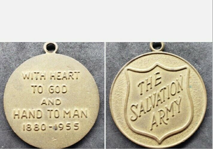 "VINTAGE 1955 THE SALVATION ARMY KEY FOB MEDALLION ""HEART TO GOD AND HAND OF MAN"""