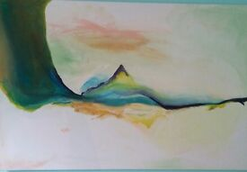 ACRYLIC ABSTRACT huge hand painted