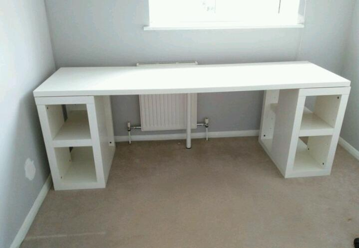 White Ikea Long Study Or Computer Desk. Very Good Condition.