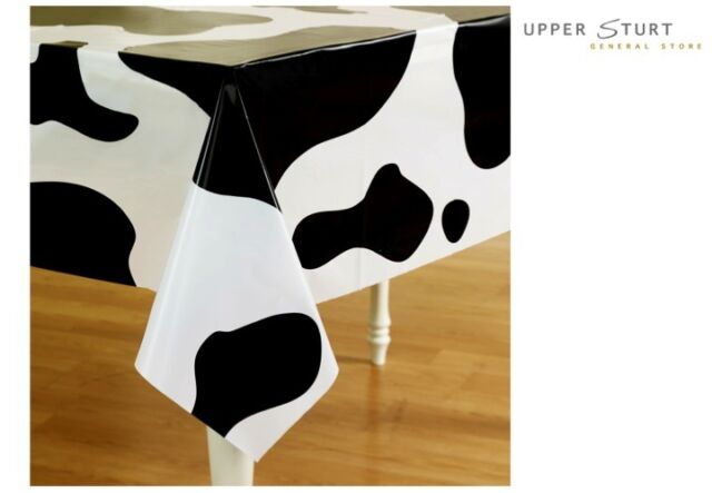 """Western Tablecover Cow Print 54"""" x 108"""" Plastic Cow Party Supplies FREE DELIVERY"""