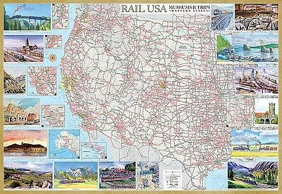 Rail U.S.A. Museums & Trips Western States Illustrated Map Laminated Poster