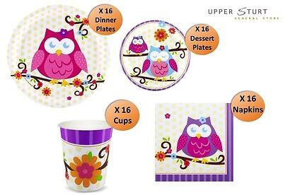 Owl Blossom Party Value Pack 64 Piece 16 Person Pack Party Supplies ()