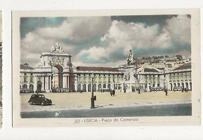 Lisboa Praca do Comercio Portugal Vintage Postcard 261a