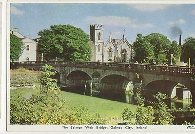 Salmon Weir Bridge Galway City Ireland Vintage Postcard 207a