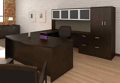 Amber Bowfront U-shape Executive Office Desk Whutchcredenzastorage Cabinet