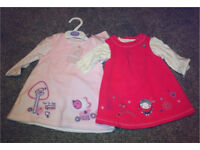 2 x pinafore dresses brand new 3-6months £5 for both!