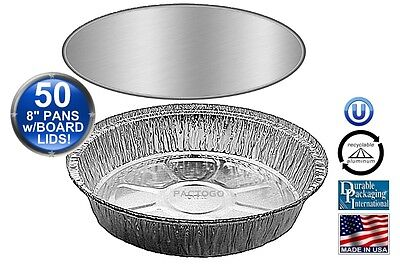 8 Round Aluminum Foil Take-out Pan Wboard Lid 50 Pk - Disposable Containers