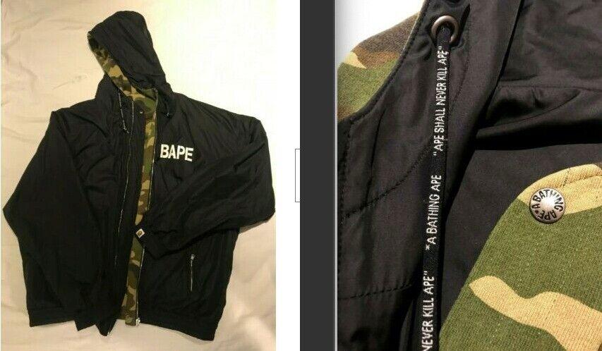 8d81ee979c50 Vintage reversible A Bathing Ape bape Coat hoodie Camo black