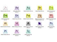ADOBE PHOTOSHOP, ACRIOBAT PRO, IINDESIGN, ILLUSTRATOR CS6,etc... PC/MAC