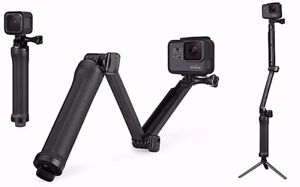3-way foldable Monopod/Selfie Stick/Tripod For GoPro Hero etc.