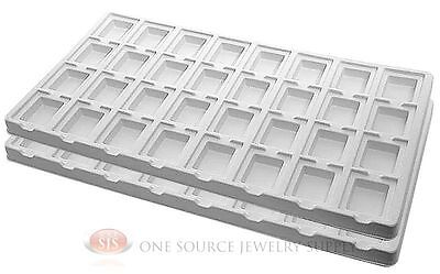 2 White Insert Tray Liners W 32 Compartment Earrings Organizer Jewelry Display