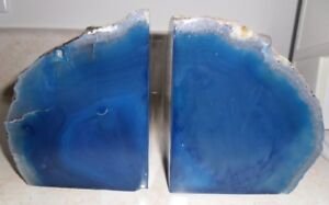 Pair of Genuine Blue Marble Stone Book Ends