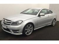 2013 SILVER MERCEDES C180 1.6 AMG SPORT PETROL COUPE CAR FINANCE FROM 46 P/WK