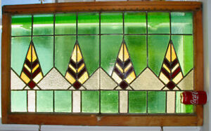 """Fenêtre Vitrail Antique Large  Stained glass Window 41"""" x 21"""""""