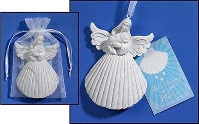 Baptism Angel Figurine - White Resin Baptism Shell 4 Inch Angel Figurine with Holy Prayer Card Gift Set