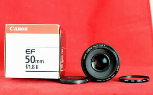 Canon EF 50mm f1.8 Lens w Hoya UV Filter, Box, and Caps