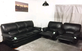 • Black Real leather rose Bay 3 seater sofa with 2 recliner chairs