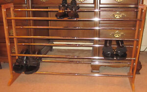 Wood And Chrome Expandable 4-Tier Shoe Rack