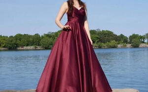 Burgundy Sateen Ball Gown Prom Dress