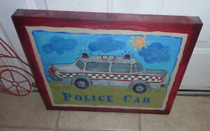 Police car canvas decor for boys' room Kitchener / Waterloo Kitchener Area image 1