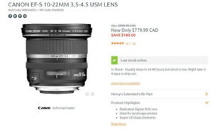 New Canon EF-S 10-22MM 3.5-4.5 USM Lens - Swap/Trade welcome
