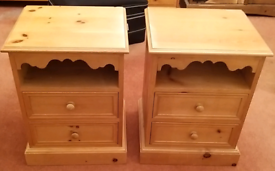 Solid Pine Bedside Drawers/Cabinets x 2 (not flatpack)