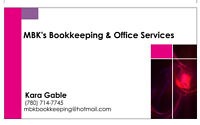 Offering Bookkeeping & Office Services