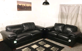 ! Ex display Black Real leather 3+2 seater sofas