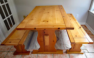 Vintage refinished pine trestle table and two bench seats