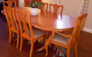 Dining table & chairs - in solid heavy wood - seats 6