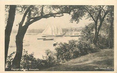 C-1905 Lake Calhoun Minnesota Sailboats Waterfront undivided postcard 8213