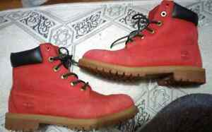 Custom Timberland Suede Boots, Red & Black,