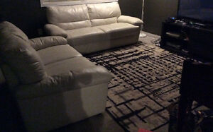 Genuine white leather sofa and loveseat