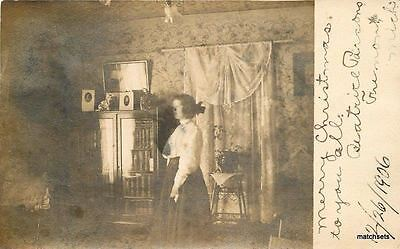 For sale 1906 Fremont Michigan Beatrice Parsons Home Interior RPPC real photo 6137