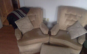 Two armchairs and ottoman