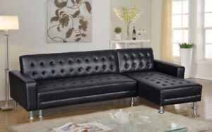 BRAND NEW-Leather Black Tufted Sectional SOFA BED-like IKEA